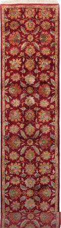 "Hand Made India Agra 2'8"" x 11'11"" Red Rug"