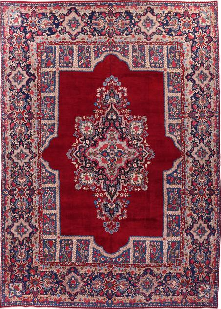 "Hand Knotted Iran Yazd 9'9"" x 13'8"" Red DK"