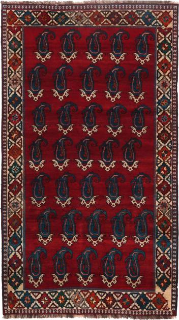"Hand Knotted Iran Bakhtiari 4'8"" x 8'2"" Red DK"