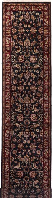 "Hand Made India Agra 2'6"" x 12' Black"