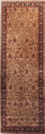 """Hand Made India Agra 6'7"""" x 19'7"""" Green LT"""