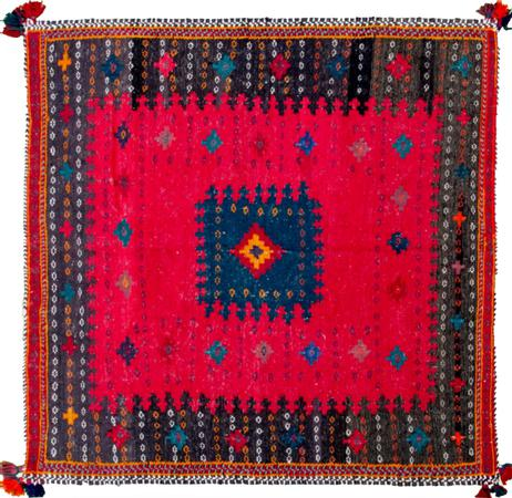 """Hand Knotted Iran Sirjan 4'3"""" x 4'5"""" Red"""