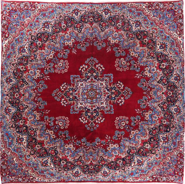"""Hand Knotted Iran Yazd 10'6"""" x 10'6"""" Red DK"""