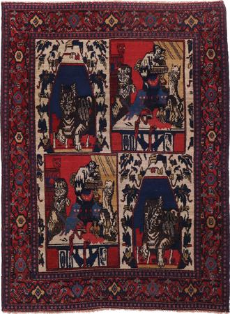 "Hand Knotted Iran Sanandaj 3'8"" x 4'8"" Ivory"