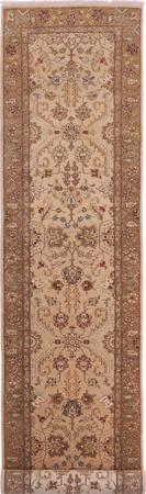 "Hand Made China Kashan 2'6"" x 12'2"" Tan"