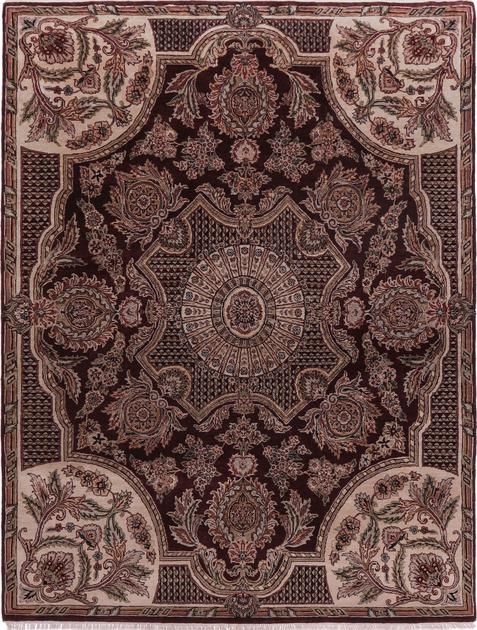 """Hand Made India Aubusson 7'9"""" x 10' Red DK"""