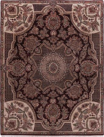 "Hand Made India Aubusson 7'9"" x 10' Red DK"