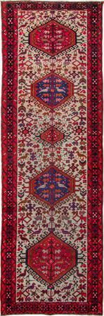 "Hand Knotted Iran Karaja 3'7"" x 11'7"" Ivory"