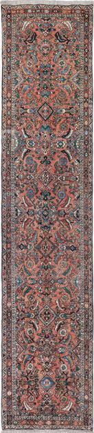 "Hand Made Iran Heriz 3'5"" x 11'5"" Coral"