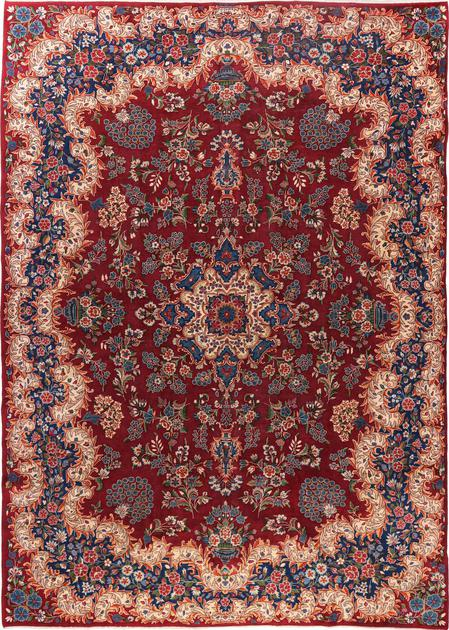 "Hand Knotted Iran Yazd 8'3"" x 11'7"" Red DK"