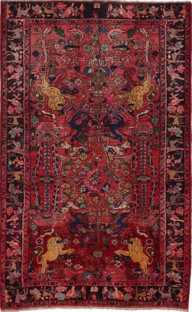 "Hand Knotted Iran Tabriz 4'7"" x 6'11"" Red LT"