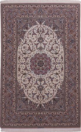"Hand Knotted Iran Isfahan 4'7"" x 7'5"" Ivory"