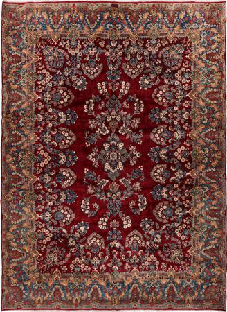"""Hand Knotted Iran Kerman 9'9"""" x 13'5"""" Red DK"""