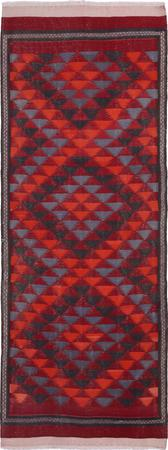 """Hand Knotted Iran Kilim 4'3"""" x 11'7"""" Red DK"""