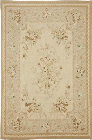 "Hand Made India Aubusson 4'3"" x 6' Beige"