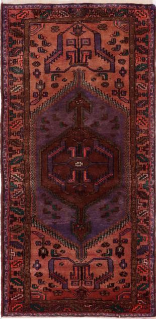 "Hand Knotted Iran Hamadan 3'6"" x 7'6"" Purple"