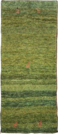 Hand Knotted Iran Gabbeh 3' x 6' Green