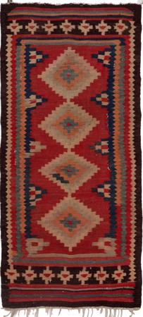 """Hand Knotted Iran Kilim 3'9"""" x 7'2"""" Red"""