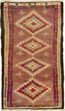 """Hand Knotted Iran Kilim 4' x 7'2"""" Brown LT"""