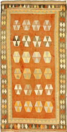 "Hand Knotted Iran Kilim 4'6"" x 8'6"" Orange LT"