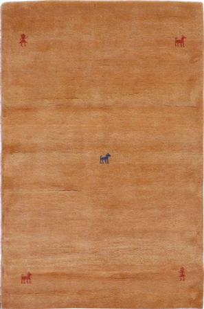 "Hand Knotted Iran Gabbeh 3'9"" x 5'9"" Tan"