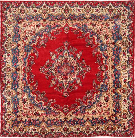 """Hand Knotted Iran Kerman 10'2"""" x 10'4"""" Red"""