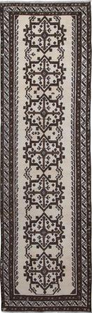 "Hand Knotted Iran Belouch 3'4"" x 11'9"" White"