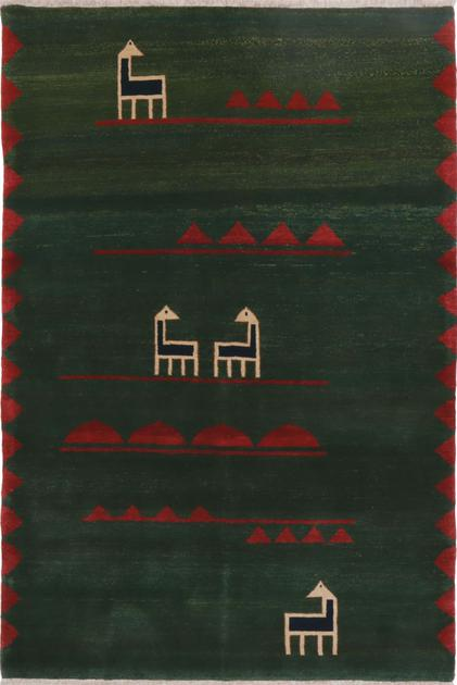 "Hand Knotted Iran Gabbeh 6' x 8'8"" Green DK"