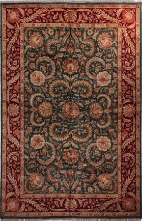 """Hand Made India Agra 12' x 18'2"""" Green DK"""