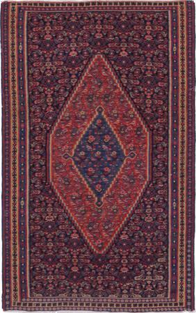 "Flat Weave Iran Sanandaj 4'3"" x 6'5"" Blue DK"