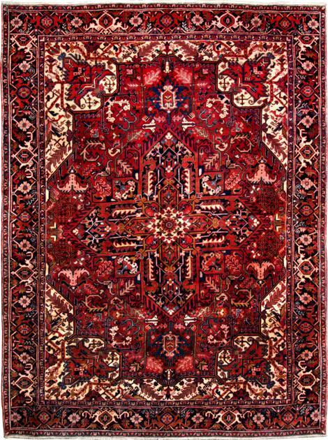 "Hand Made Iran Heriz 8'3"" x 11'2"" Red DK"