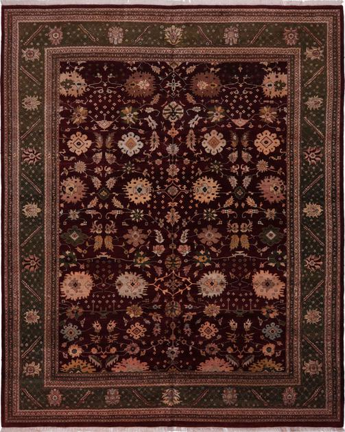 "Hand Made India Mahal 11'9"" x 15' Red DK"