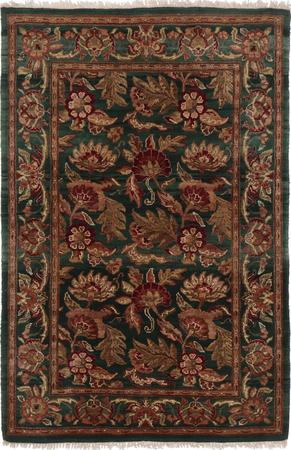 Hand Made India Agra 4' x 6' Green DK