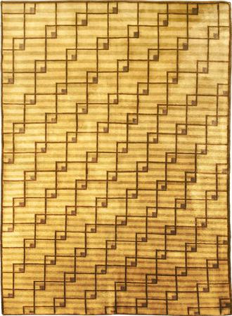"""Hand Made India Contemporary 4' x 5'6"""" Green LT"""