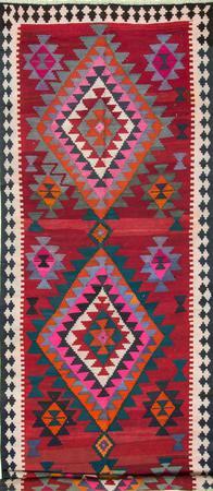 """Flat Weave Iran Kilim 5'7"""" x 17'4"""" Red"""