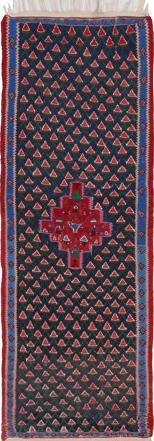 """Flat Weave Iran Kilim 2'11"""" x 6'11"""" Blue"""