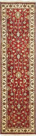 """Hand Made India Mahal 2'7"""" x 9'9"""" Red"""