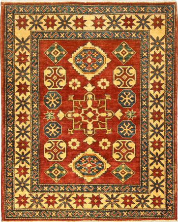 "Hand Made Afghanistan Kazak 3'9"" x 4'9"" Orange DK"