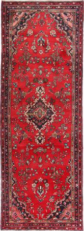 "Hand Knotted Iran Hamadan 3'9"" x 10'9"" Red LT"