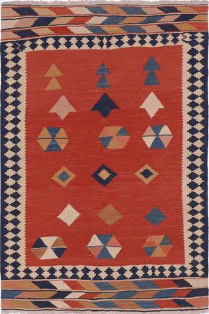 "Flat Weave Iran Kilim 3'7"" x 6'4"" Orange"