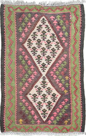 "Hand Knotted Iran Kilim 1'8"" x 2'8"" Purple"
