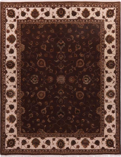 "Hand Knotted India Mahal 7'11"" x 10' Brown DK"