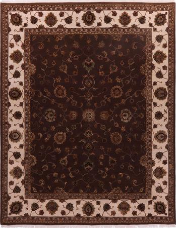 """Hand Knotted India Mahal 7'11"""" x 10' Brown DK"""
