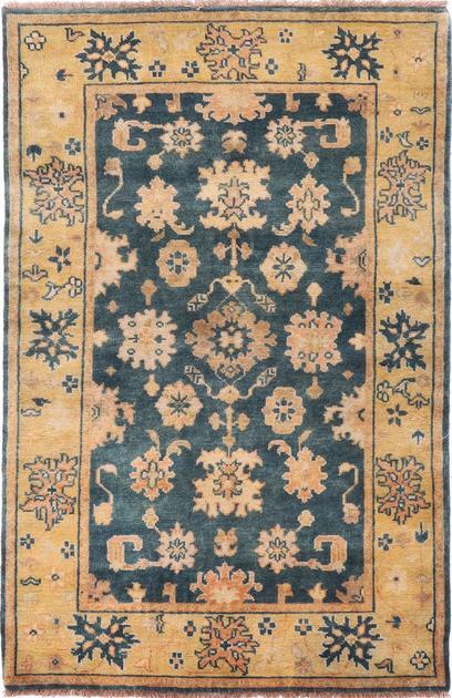Hand Made India Mahal 4' x 6' Blue