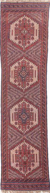 "Hand Made Afghanistan Belouch 2'3"" x 8'7"" Red DK"