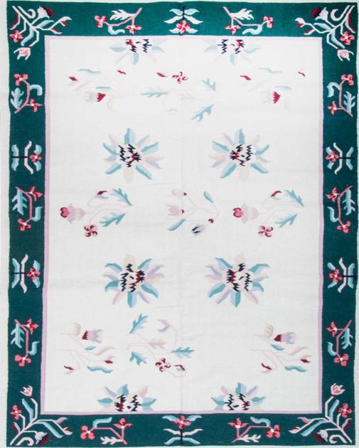Flat Weave India Dhurrie 8' x 10' White