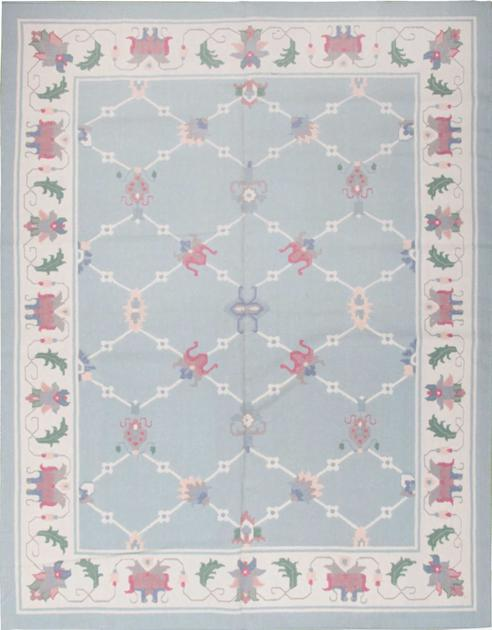 Flat Weave India Dhurrie 8' x 10' Blue LT