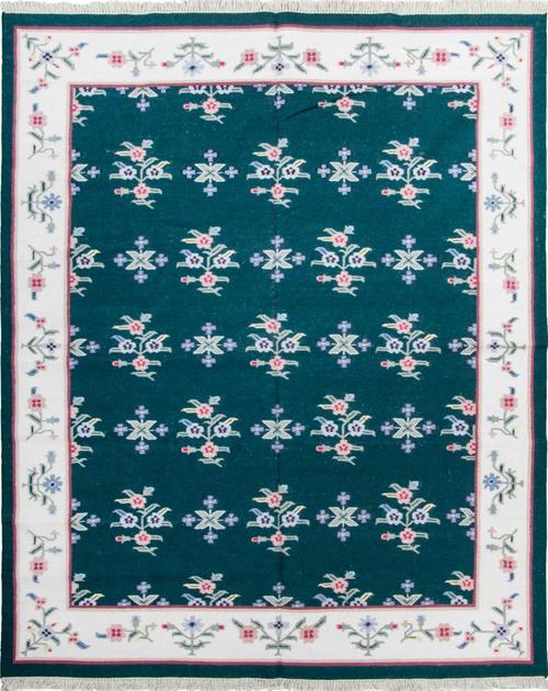 Flat Weave India Dhurrie 8' x 10' Green DK