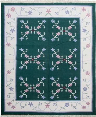 Flat Weave India Dhurrie 8' x 10' Green