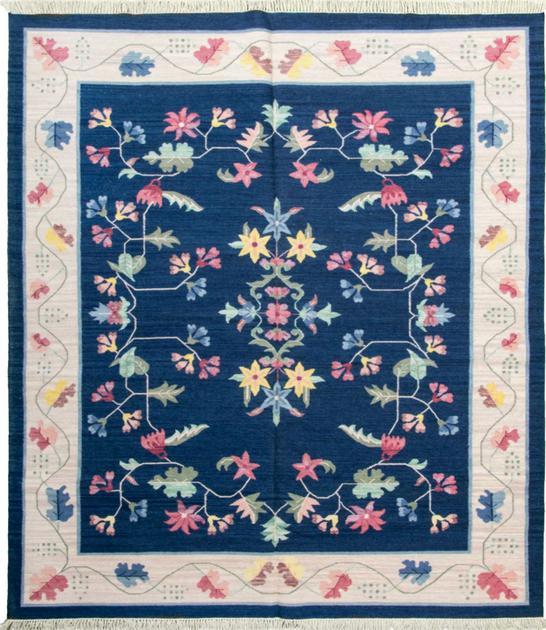 Flat Weave India Dhurrie 8' x 10' Blue